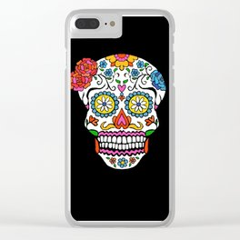 daisy sugar skull Clear iPhone Case