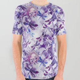 Dragonfly Lullaby in Pantone Ultraviolet Purple All Over Graphic Tee