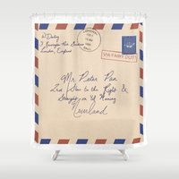 peter pan Shower Curtains featuring Mr. Peter Pan by Christina