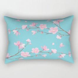 Cherry Blossom - Robin Egg Blue Rectangular Pillow