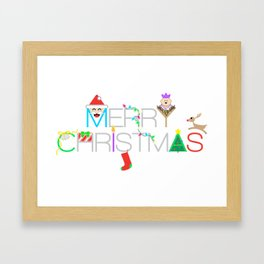 Merry Christmas Typography with Christmas Characters and Decorations Framed Art Print
