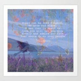 She Her 5 Wild Woman Bloom Free Wildflower Art Print