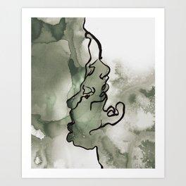 line water color faces Art Print