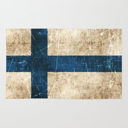 Vintage Aged and Scratched Finnish Flag Rug