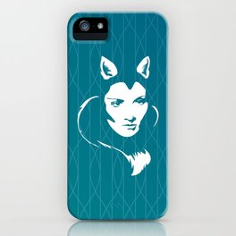 Faces - foxy lady on a teal wavey background iPhone Case