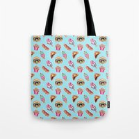 junk food Tote Bags featuring junk food by Kenzie Tsang