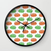 macaron Wall Clocks featuring French Macaron Pattern  by Cool Prints