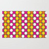 polka dots Area & Throw Rugs featuring polka dots by nandita singh