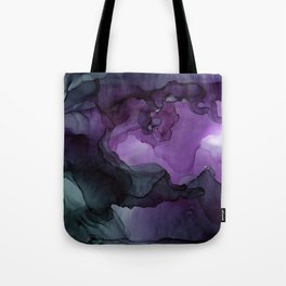 Abstract Ink Painting Deep Purple Green Tote Bag