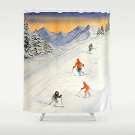 Skiing Family On The Slopes Shower Curtain