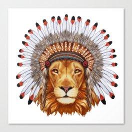 Animals as a human. Portrait  of Lion in war bonnet. Canvas Print