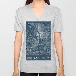 Portland Blueprint Street Map, Portland Colour Map Prints Unisex V-Neck