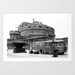Castel Sant Angelo between past and present B/N Art Print