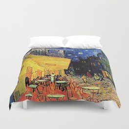 The cafe terrace on the place du forum, Arles, at night, by Vincent van gogh.  Duvet Cover
