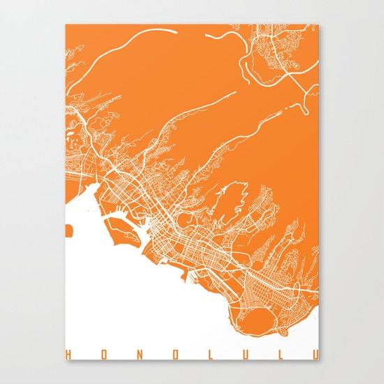Honolulu map orange Canvas Print