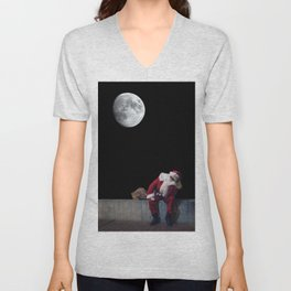 Santa Claus with sack. Magic Christmas Lights. Unisex V-Neck
