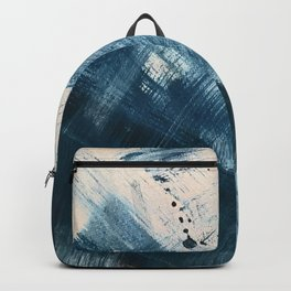 Against the Current [2]: A bold, minimal abstract acrylic piece in blue, white and gold Backpack