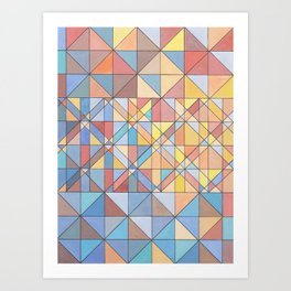 Triangle Pattern no.16 Pastels Art Print