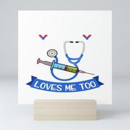 """I Love Needles And She Loves Me Too"" Syringe Doctor Nice Hospital Shirt For Doctors T-shirt Design Mini Art Print"