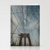 brooklyn bridge Stationery Cards featuring Brooklyn Bridge by Jean-Pierre Ducondi