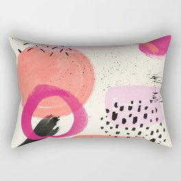 Abstract pink black coral geometric minimalist paint watercolor Rectangular Pillow