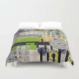 Lime & Navy Abstract Art Collage Duvet Cover