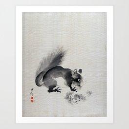 Kawabata Gyokushō Squirrel Eating Chestnuts Art Print