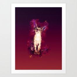 abyssinian cat kitten splatter watercolor late sunset Art Print