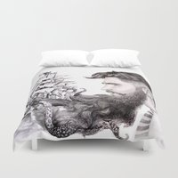 beard Duvet Covers featuring Sailor's Beard by April Alayne