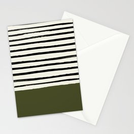 Olive Green x Stripes Stationery Cards