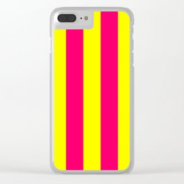 Bright Neon Pink and Yellow Vertical Cabana Tent Stripes Clear iPhone Case