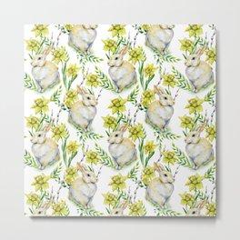 Spring yellow green watercolor daffodil rabbit pattern Metal Print
