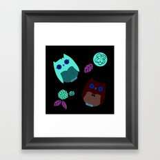 Owls with flowers Framed Art Print