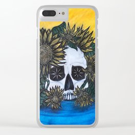Skull and Sunflowers Clear iPhone Case