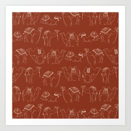 Linocut Camels No. 2 in Rust Art Print