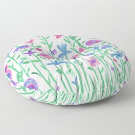 Cheerful spring flowers watercolor Floor Pillow