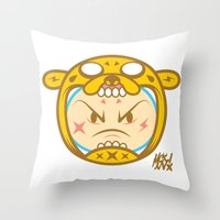 finn and jake Throw Pillows featuring Jake & Finn  by Miguel Manrique
