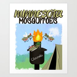 Minnesota Mosquitoes Cartoon - Camping by Tiki Torch Art Print