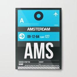 AMS Amsterdam Luggage Tag 1 Metal Print