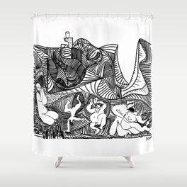 Pablo Picasso Bacchanale au hibou (Bacchanale with Owl), 1959 Artwork, Design For Tshirts, Posters, Prints Shower Curtain