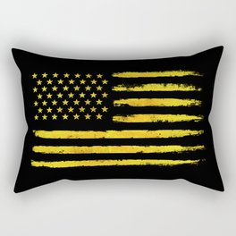 Gold grunge american flag Rectangular Pillow