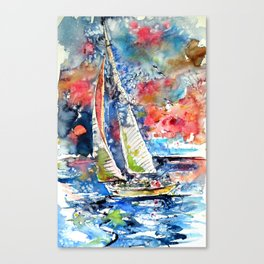 Sailboat with seaguls Canvas Print