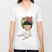 spring V-neck T-shirts featuring Spring  by Young Ju