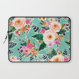 GOOD MOOD Aqua Watercolor Floral Laptop Sleeve