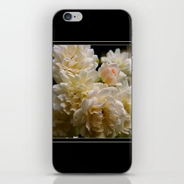 white roses and a light pink bud (square) iPhone Skin