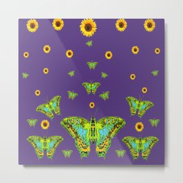 YELLOW SUNFLOWERS, GREEN MOTHS ON PURPLE Metal Print