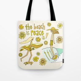 the beach is peace // retro surf art by surfy birdy Tote Bag