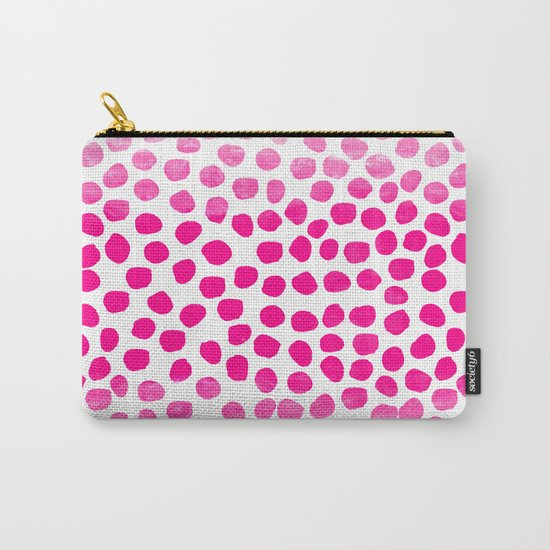 Ombre dots cute hot pink trendy must have gifts for college dorm room decor affordable painting Carry-All Pouch