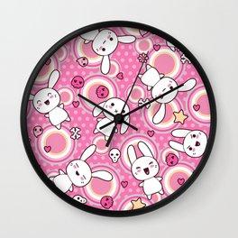 Kawaii Pastel Goth Bunny Pink Circles Wall Clock