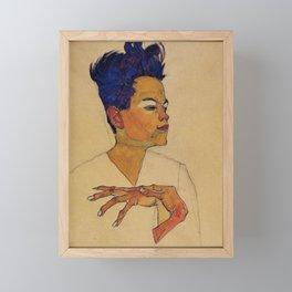 SELF PORTRAIT WITH HANDS ON CHEST - EGON SCHIELE Framed Mini Art Print